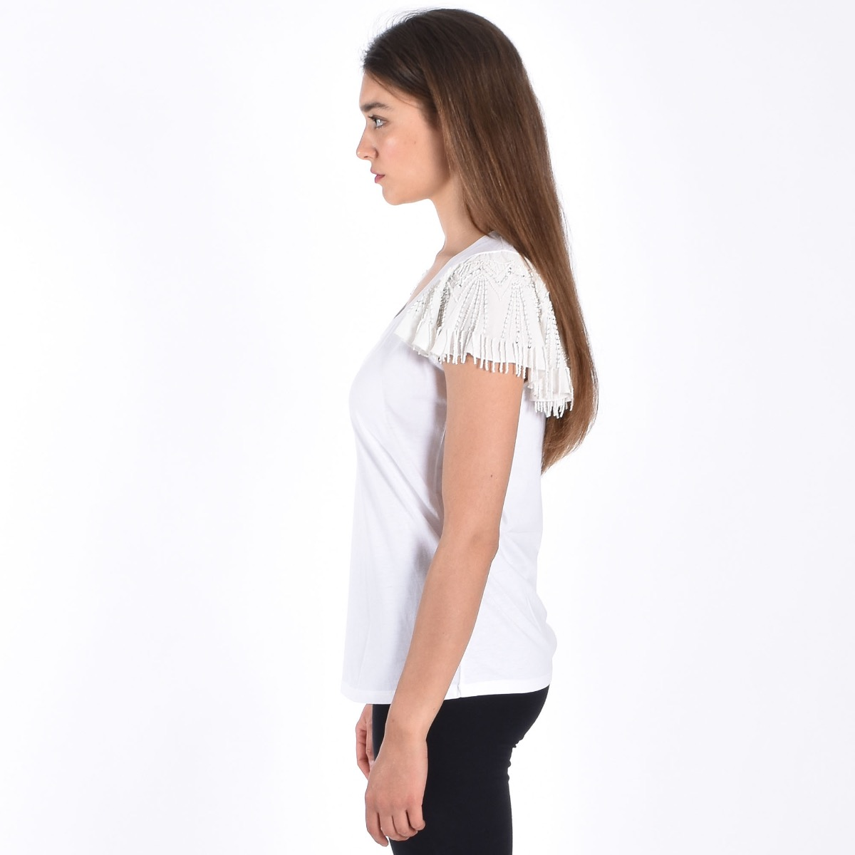 T-shirt perline manica - Bianca