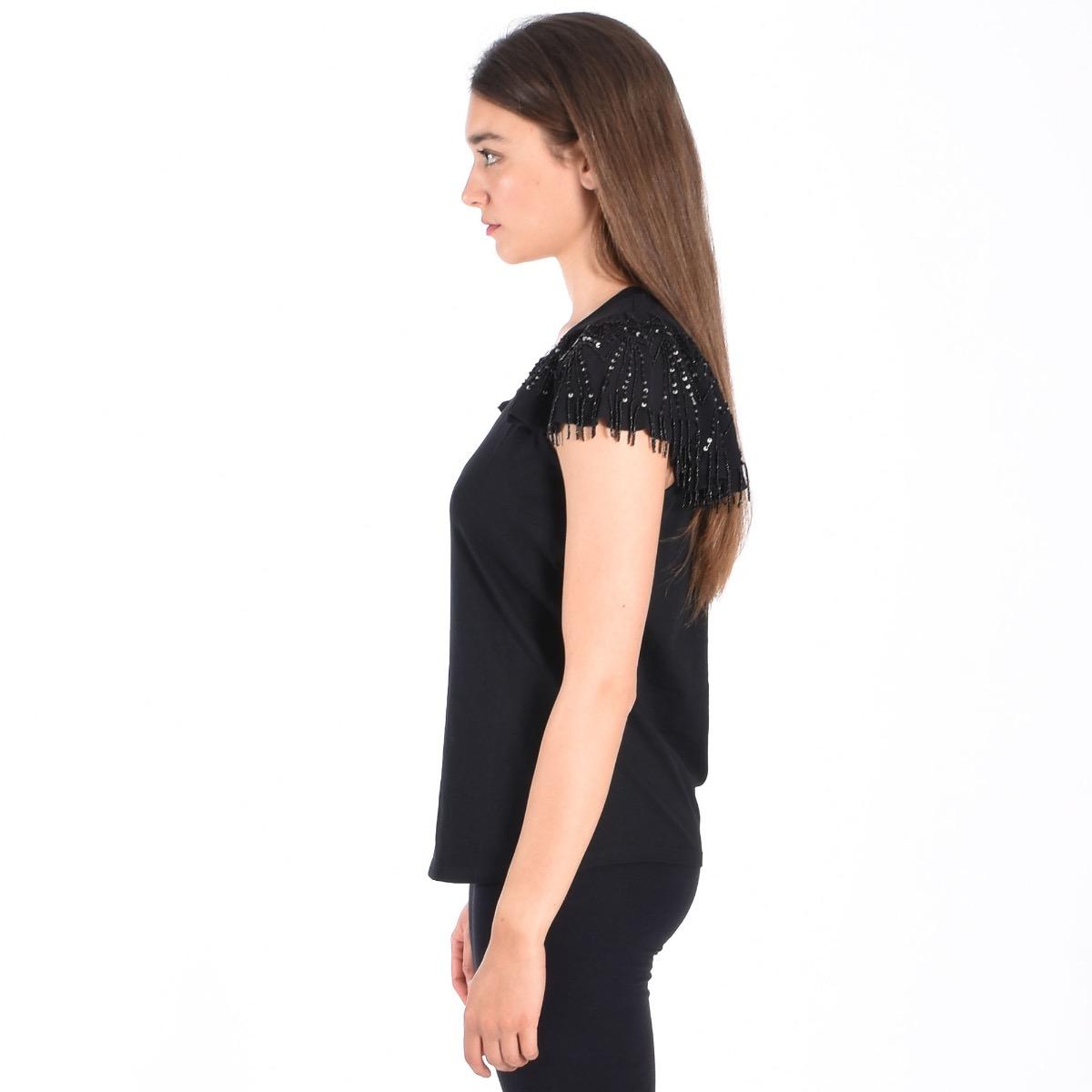 T-shirt perline manica - Nera