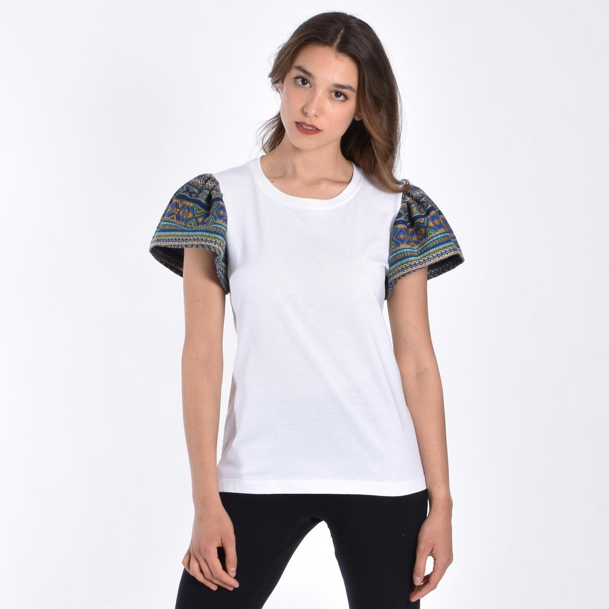 T-shirt manica fantasia- Bianco / Blu