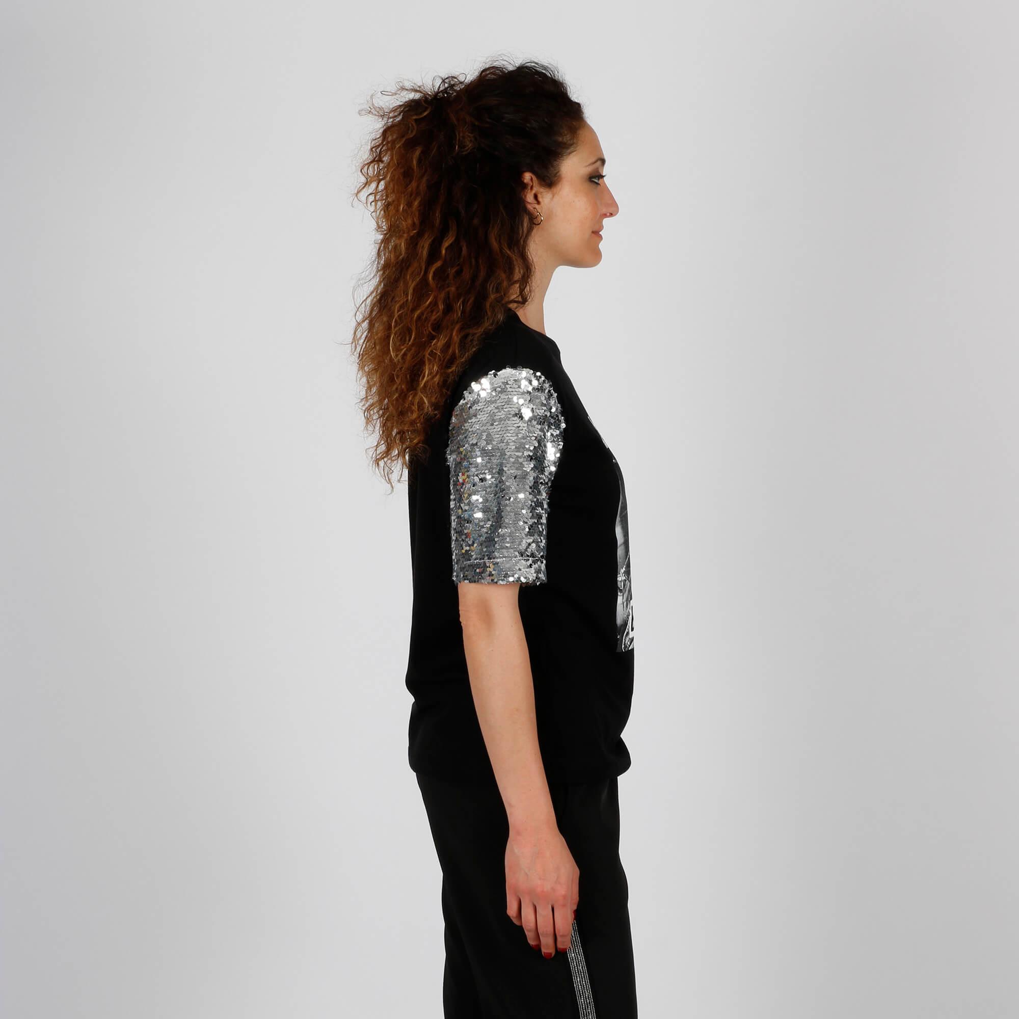 T-shirt maniche paillettes - Nero