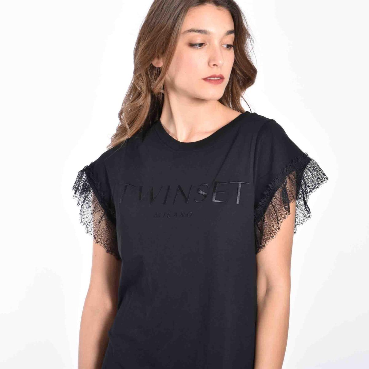 T-shirt manica pizzo- Nero
