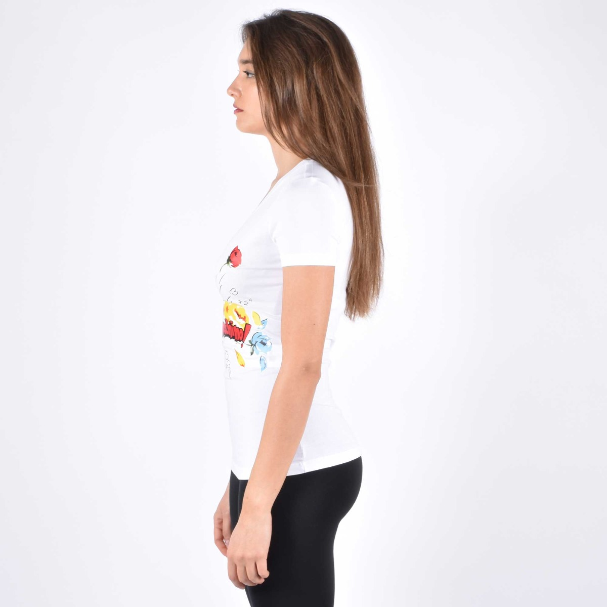 T-shirt pop flower- Bianco