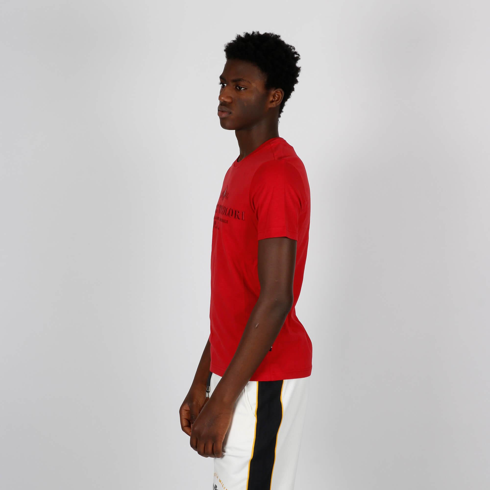 T-shirt ricamo logo - Rosso