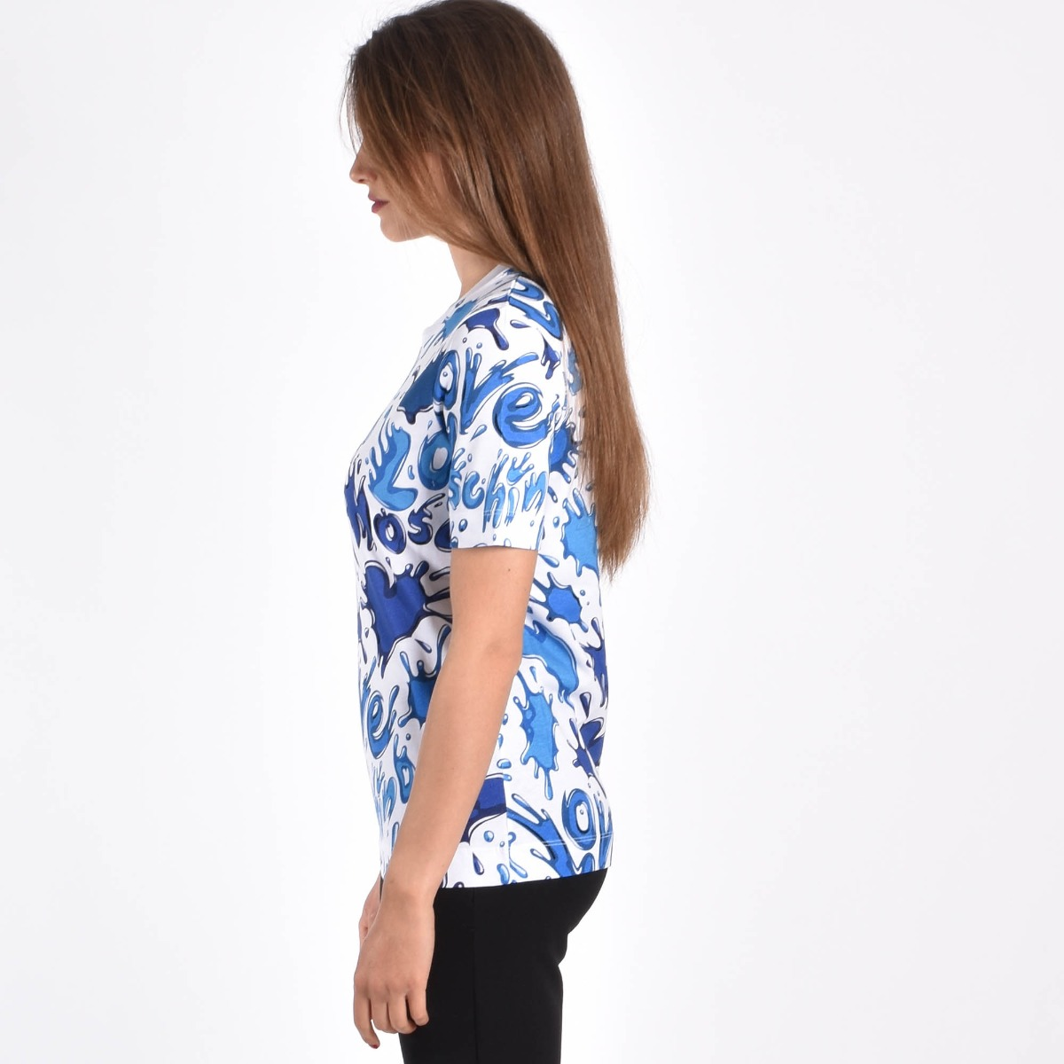 T-shirt splash- Bianco/ Azzurro