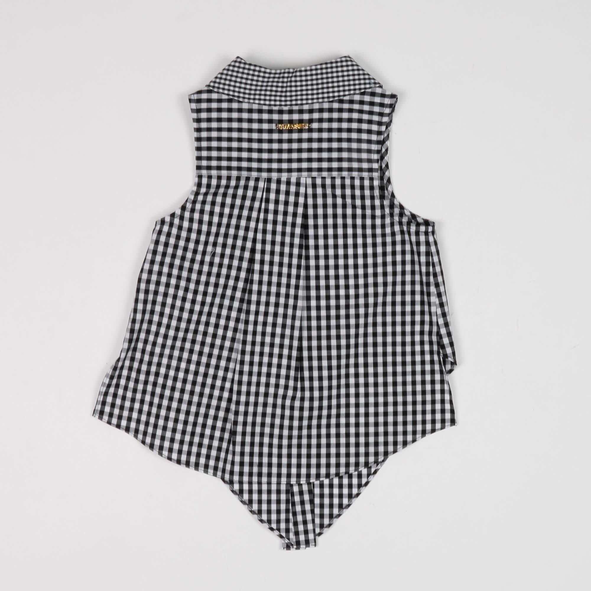 Camicia in vichy con fiocco - Bianco/ Nero