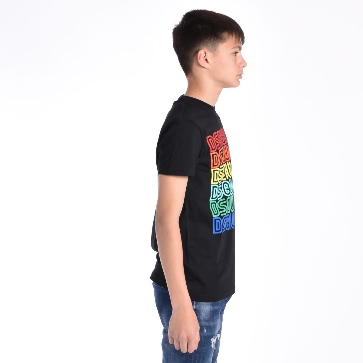 T-shirt logo arcobaleno - Nero