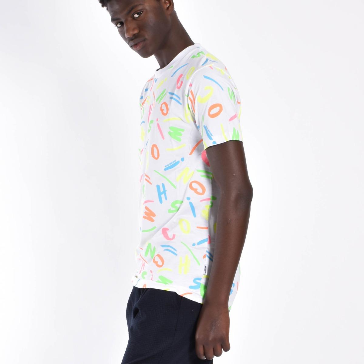 T-shirt lettere color - Bianco