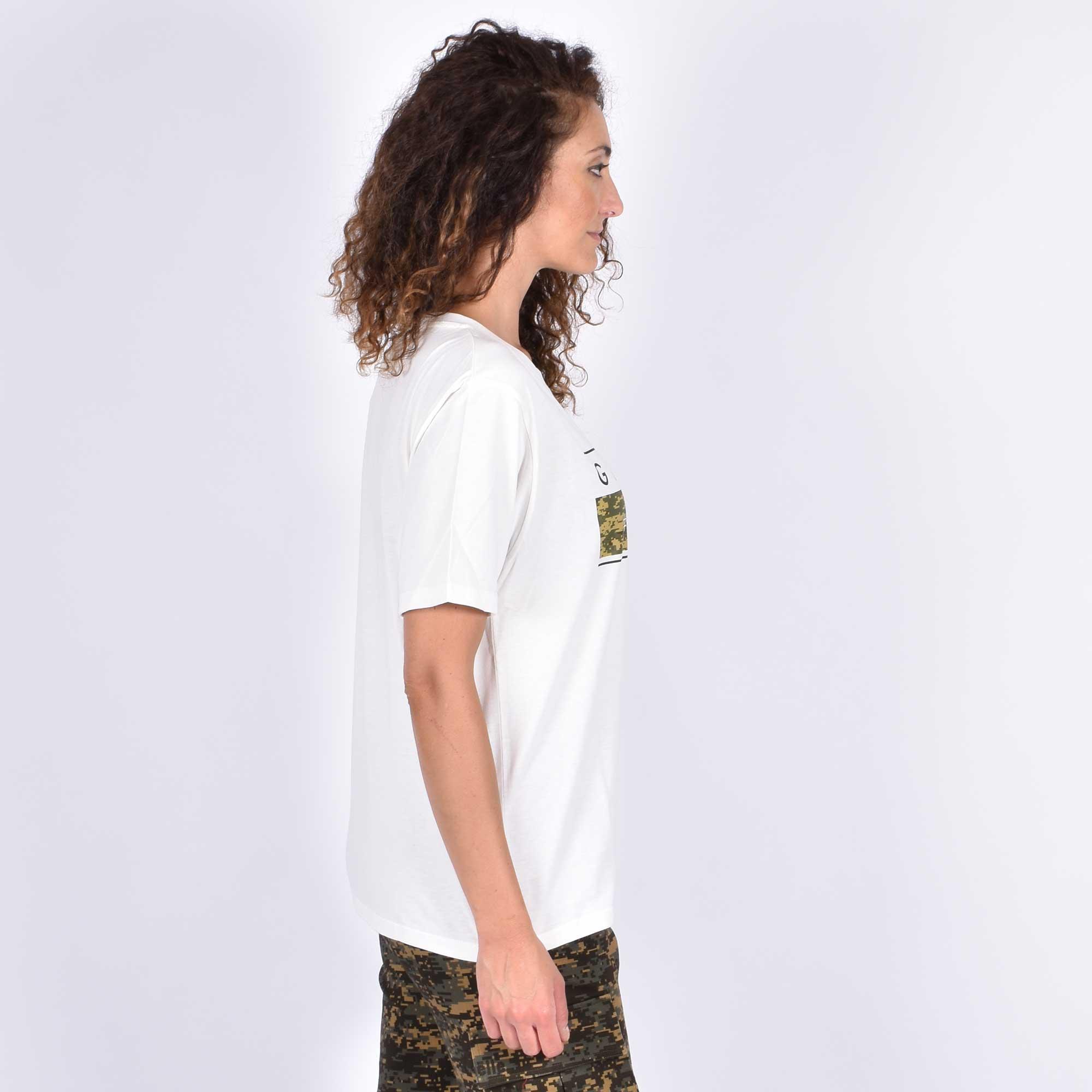T-shirt scritta camouflage -Bianco