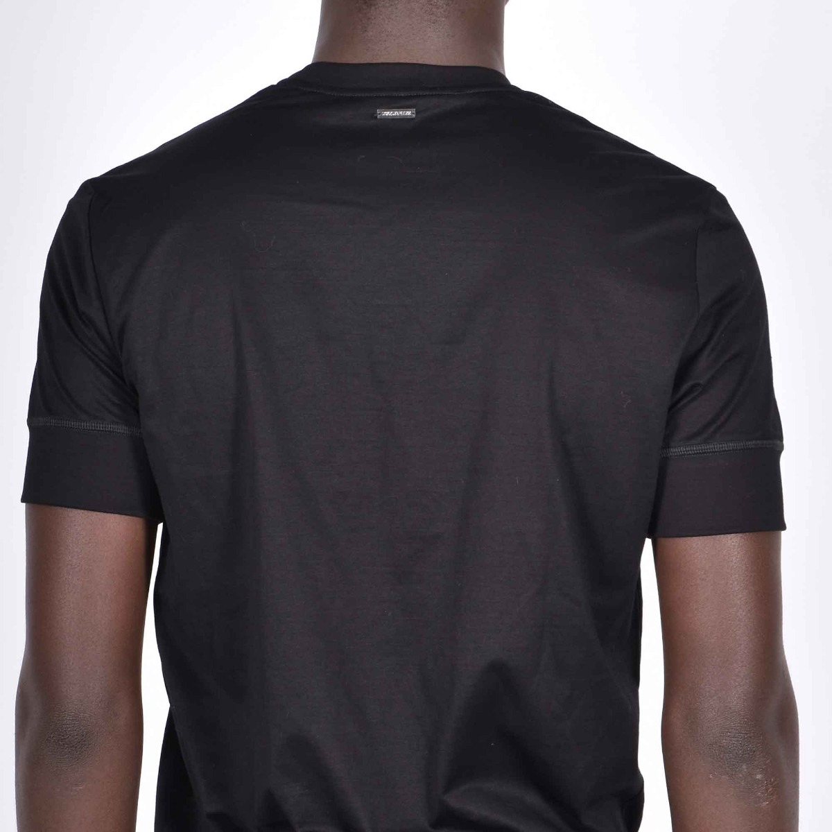 T-shirt cotone placchetta dietro - Nero