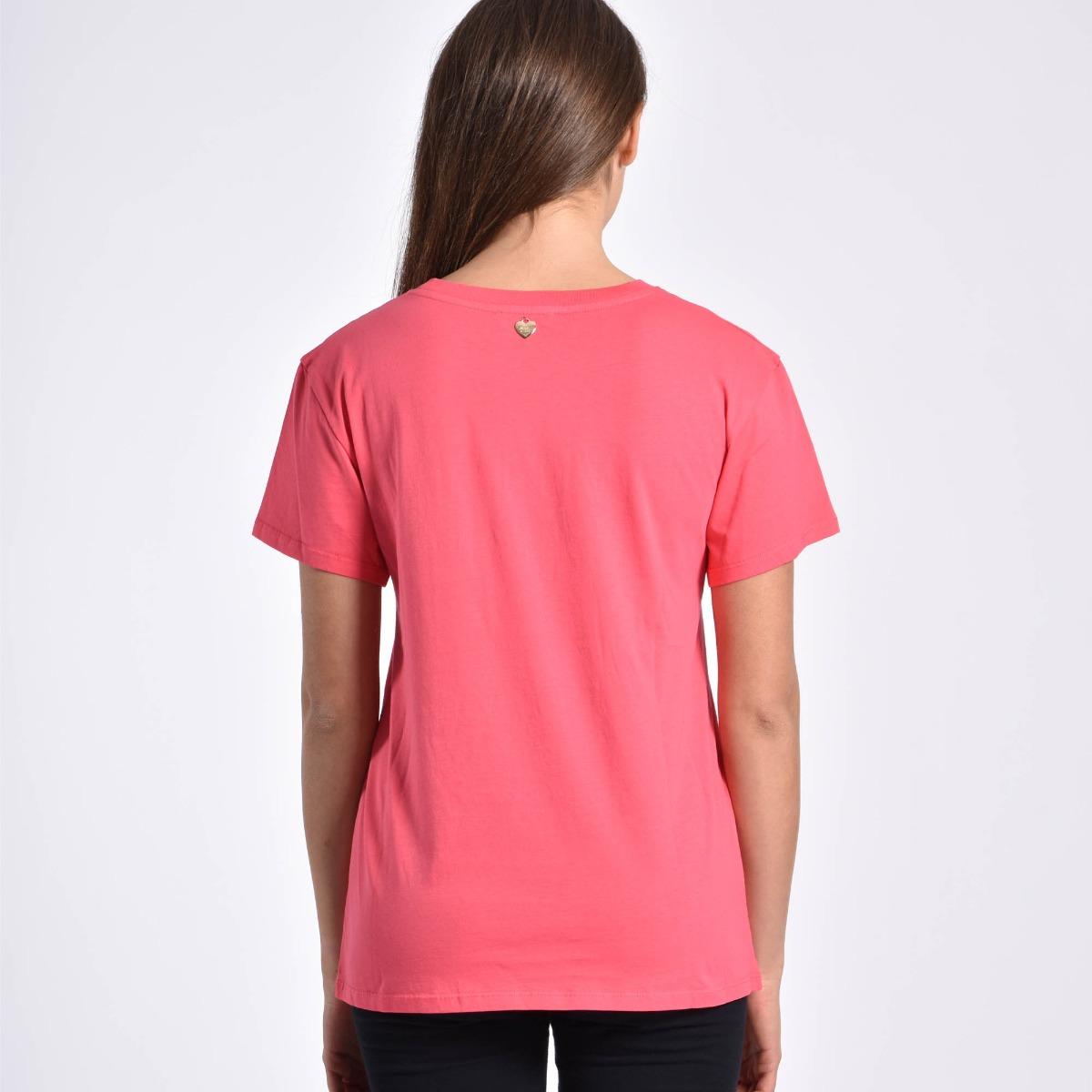 T-shirt logo centrale - Rosa