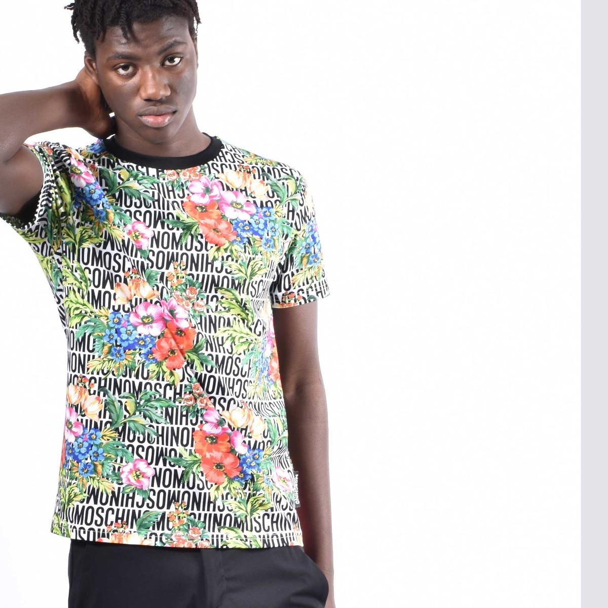 T-shirt logo e fiori - Multicolore