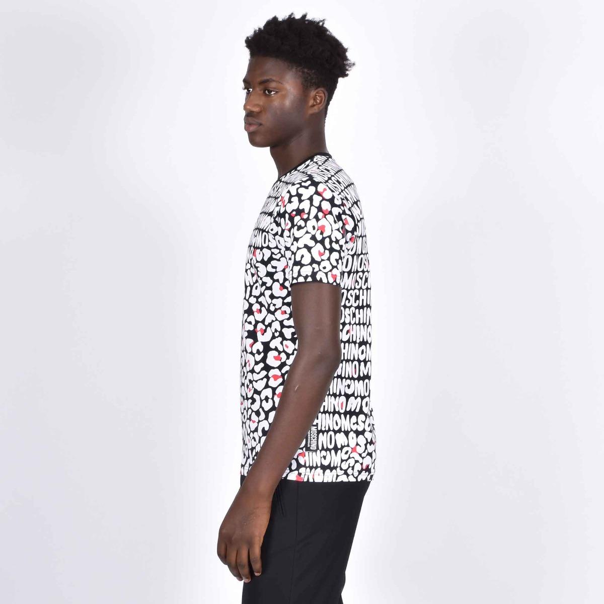 T-shirt stampa logo e maculato - Nero/bianco