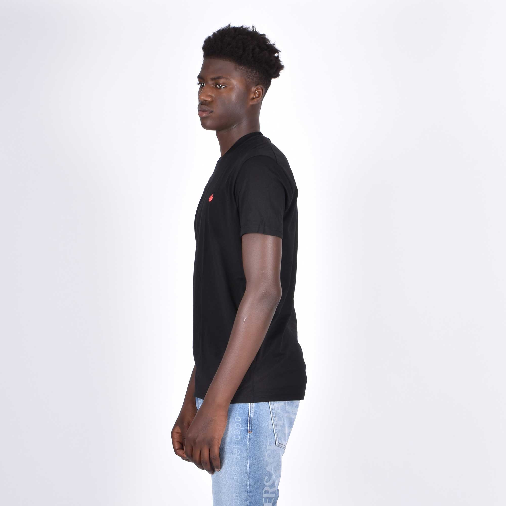 T-shirt loghino foglia d'acero - Nero