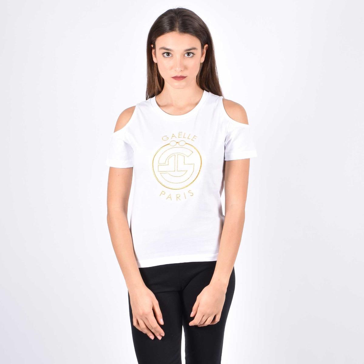 T-shirt ricamo oro - Bianco