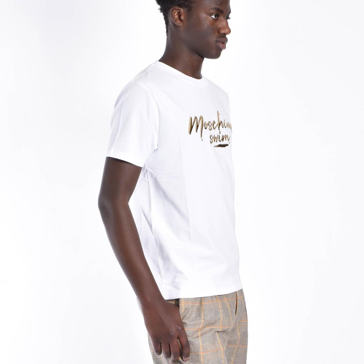 T-shirt logo oro swim - Bianco