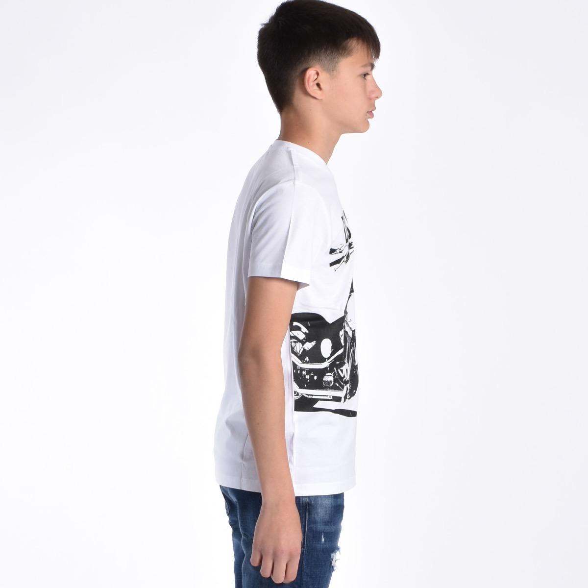 T-shirt stampa moto - Bianca