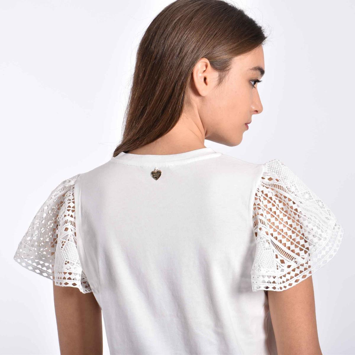 T-shirt con pizzo - Bianco