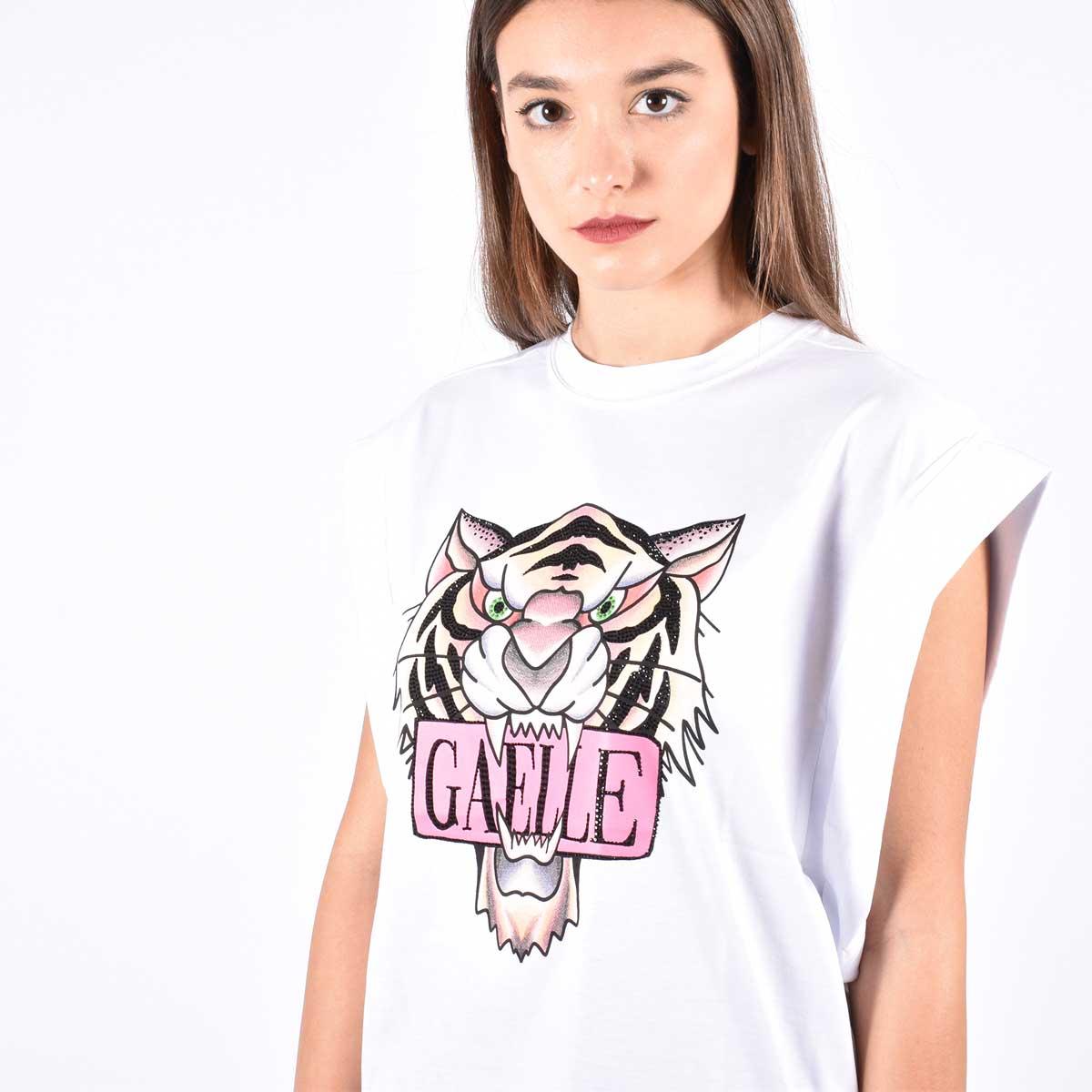 T-shirt tiger e logo - Bianco