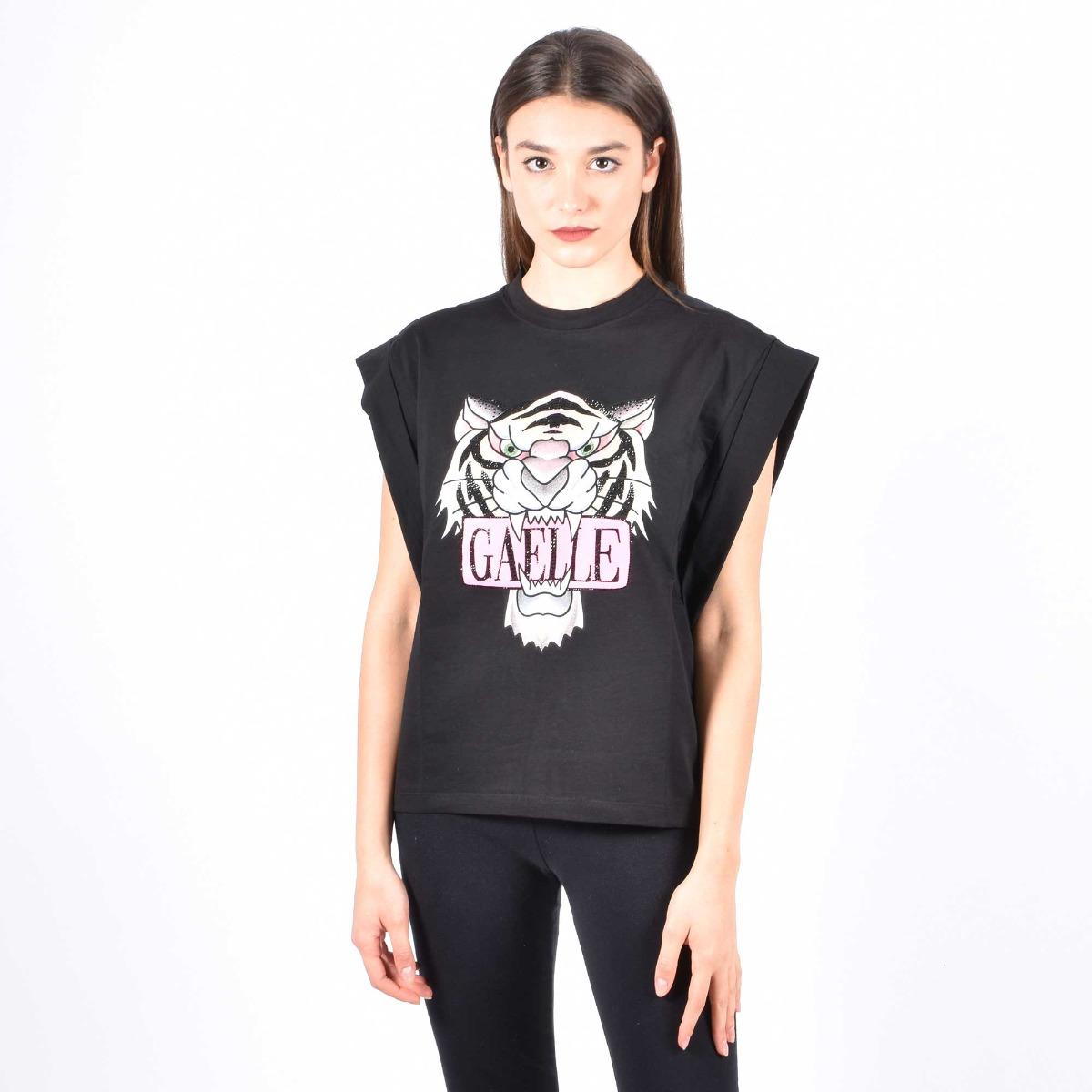 T-shirt tiger e logo - Nero
