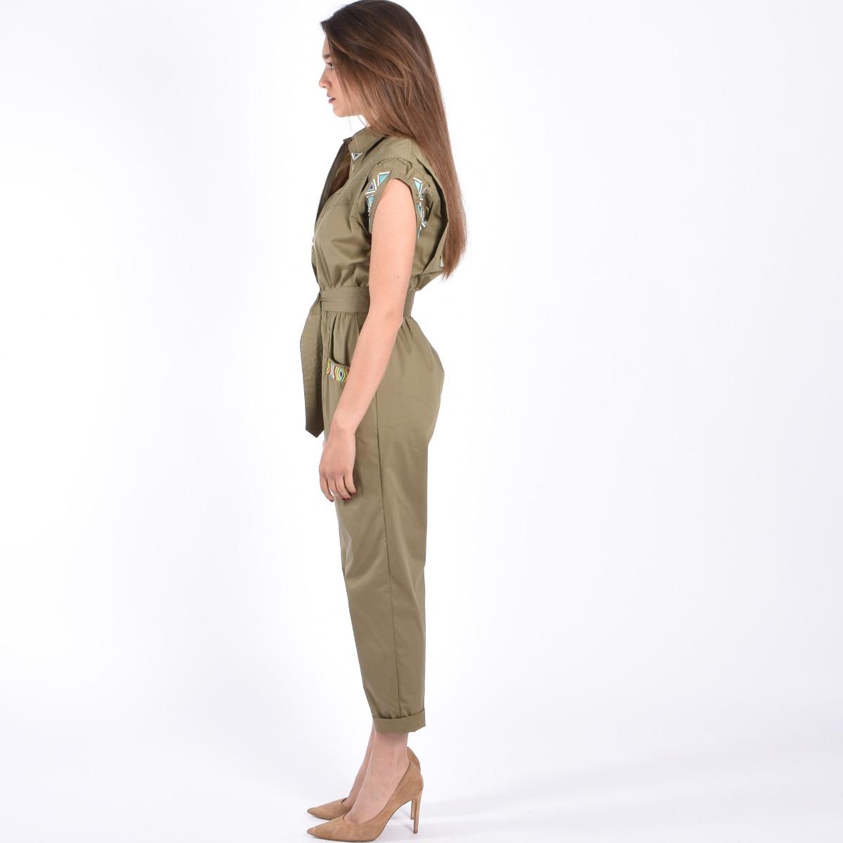 Tuta ricami e cintura- Verde militare