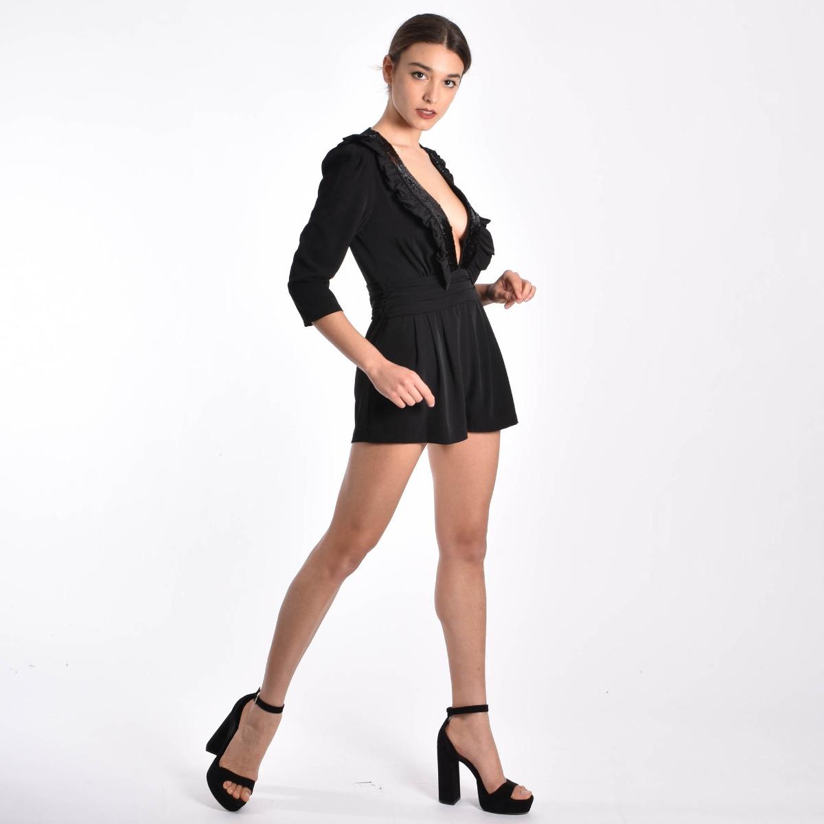 Tuta short con rouches- Nero
